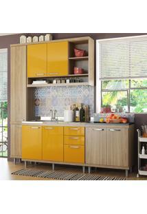 Cozinha Compacta Sicília 8 Portas Para Pia Com Balcão Amarelo/Argila - Multimóveis