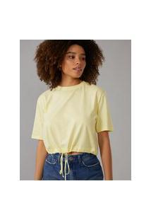 Amaro Feminino T-Shirt Com Cintura Regulável, Amarelo