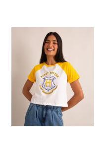 Camiseta Raglan De Algodão Harry Potter Manga Curta Decote Redondo Amarelo