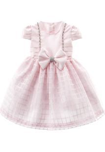 Vestido De Festa Libelinha Para Bebê Com Saia Quadriculada Rosa