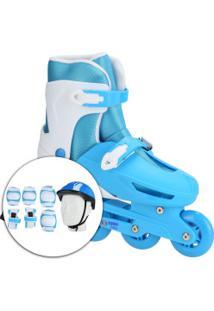 Kit Patins Spin Roller: Patins Ajustável + Capacete + 2 Joelheiras + 2 Cotoveleiras + 2 Munhequeiras - Azul/Branco