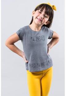 Camiseta Infantil Reserva Mini Barrado Carimbo Feminina - Feminino-Cinza