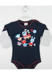 Body Bebê Manga Longa - Masculino-Azul
