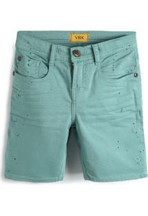 Bermuda Jeans Vr Kids Menino Liso Verde