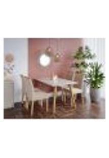 Conjunto De Mesa De Jantar Adele Com Tampo De Vidro Off White E 4 Cadeiras Estofadas Juliana Suede Nude E Madeira