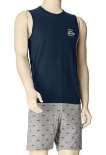 Pijama Masculino Curto Malwee 1000088385 02023-Azu