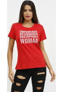Camiseta Com Inscriã§Ãµes- Vermelha & Branca- Coca-Colcoca-Cola
