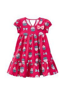 Vestido Infantil - Algodão E Poliéster - Laços E Cupcake - Rosa - Kyly