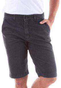 Bermuda Jeans Traymon Chino Regular Com Elastano Masculina - Masculino-Preto