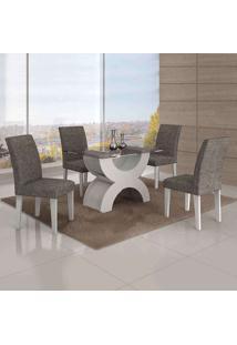 Conjunto De Mesa Com 4 Cadeiras Olímpia Linho Branco E Cinza