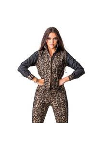 Jaqueta Onça Zune Feminina Fashion Moderna Confortável Leve Marrom P Marrom