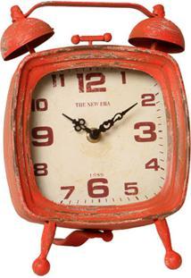 Relógio De Mesa Decorativo Tv Retrô De Metal Envelhecido
