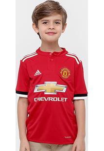 Camisa Manchester United Infantil Home 17/18 S/Nº Torcedor Adidas - Masculino