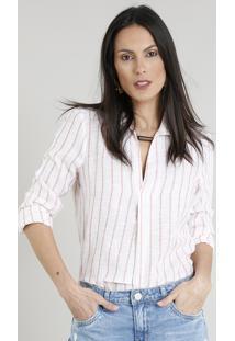 7bd710a40 Camisa Feminina Listrada Manga Longa Decote V Off White