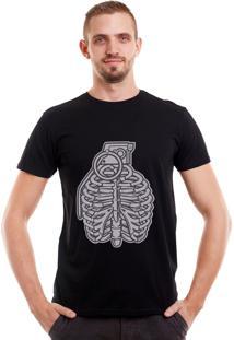 Camiseta Geek10 Esqueleto Caveira Preta