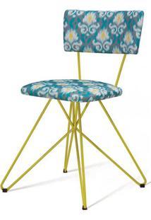Cadeira Pop Estampa Blur Base Estrela Amarela - 49577 - Sun House