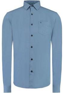 Camisa Vr Lisa Tinturada Masculina - Masculino-Azul