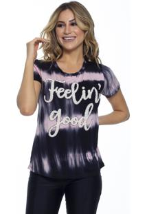 T-Shirt Cavallari Feeling Good Tie Dye Preta