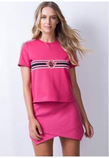 T-Shirt Lança Perfume Curta Faixa - Feminino-Rosa