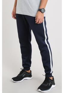 Calça Masculina Esportiva Ace Em Moletom Com Faixas Laterais Azul Marinho