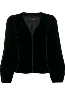 Emporio Armani Cropped Zip-Up Jacket - Preto