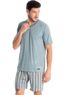 Pijama Masculino Decote V Estampado Curto Leonardo