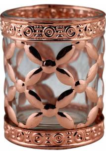 Castiçal De Metal Bronze E Vidro 6X6X7 Cm
