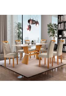 Conjunto De Mesa De Jantar Com 6 Cadeiras Oxford Jacquard L Off White E Bege