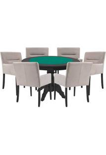 Mesa De Jogos Carteado Redonda Montreal Tampo Reversível Preto Com 6 Cadeiras Vicenza Nude - Gran Belo