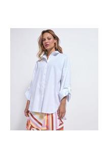 Camisa Alongada Em Algodão Com Cava Deslocada | Marfinno | Branco | G