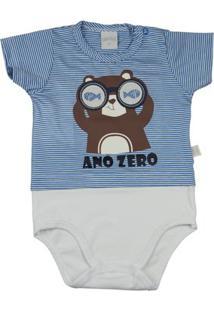 Body Infantil Ano Zero Malha Listrada Catalina E Cotton Castor Com Óculos Masculino - Masculino-Azul+Branco