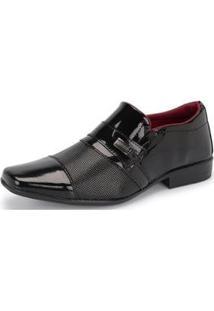 Sapato Social Masculino 834 Elástico Verniz Leve Moderno - Masculino-Preto
