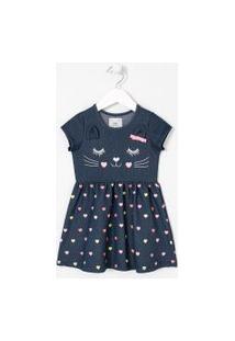 Vestido Infantil Estampa Cara De Gatinho - Tam 1 A 5 Anos | Póim (1 A 5 Anos) | Azul | 01