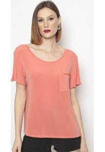 Camiseta Com Bolso & Botãµes - Coral - Lanã§A Perfumelanã§A Perfume