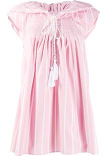 Thierry Colson Vestido Casual Listrado - Rosa