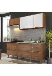 Cozinha Compacta Calábria 7 Portas 4 Gavetas Nogueira/Branco - Multimóveis