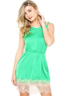 Vestido Slip Dress Moikana Renda Verde