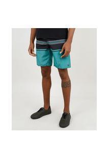 Bermuda Surf Masculina Com Listras E Bolso Cinza Mescla