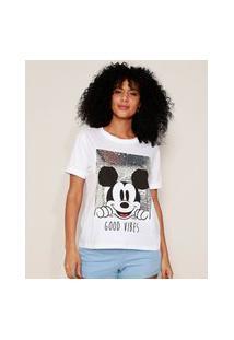 Camiseta Feminina Mickey Com Paetê Manga Curta Decote Redondo Off White