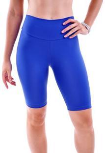 Bermuda Mama Latina Ciclista Básica Suplex - Feminino-Azul Escuro
