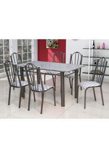 Conjunto De Mesa Luana Com 6 Cadeiras Craqueado Preto Capitonê