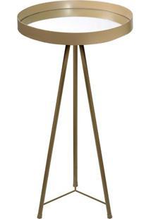 Mesa Lateral Redonda Média- Espelhada & Dourada- 67Xdecor Glass