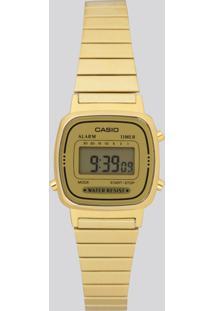 Relógio Digital Casio Feminino - La670Wga9Dfu Dourado - Único