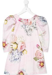 Monnalisa Vestido Mangas Bufantes Com Estampa Floral - Rosa