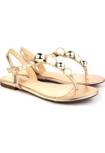 Rasteira Trivalle Shoes Bola Metal Ouro