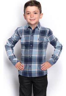 Camisa Social Infantil Menino Manga Longa Xadrez Casual - Kanui