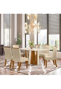 Conjunto De Mesa Com 6 Cadeiras Para Sala De Jantar Egito-Henn - Nature / Off White / Linho