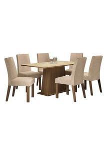 Conjunto Sala De Jantar Madesa Luciana Mesa Tampo De Madeira Com 6 Cadeiras Rustic/Crema/Imperial Rustic