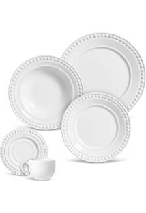 Aparelho De Jantar E Chá Porto Brasil Atenas 30Pçs Branco
