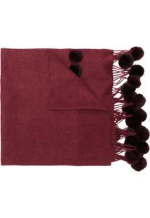 N.Peal Cachecol Com Pompons E Franjas - Vermelho